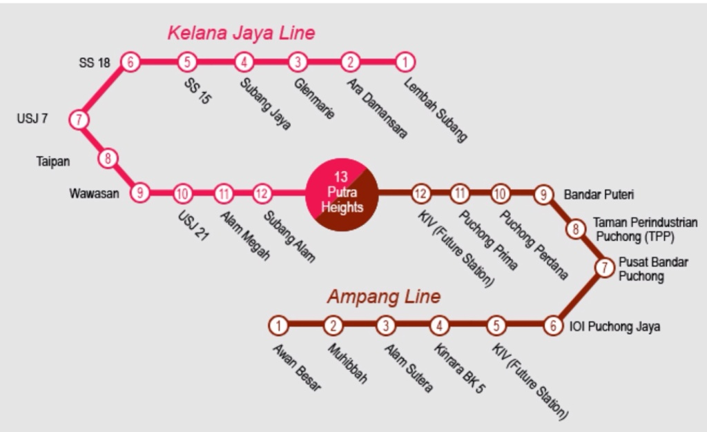 Park & Ride stations - LRT Line Extension Alignment Map