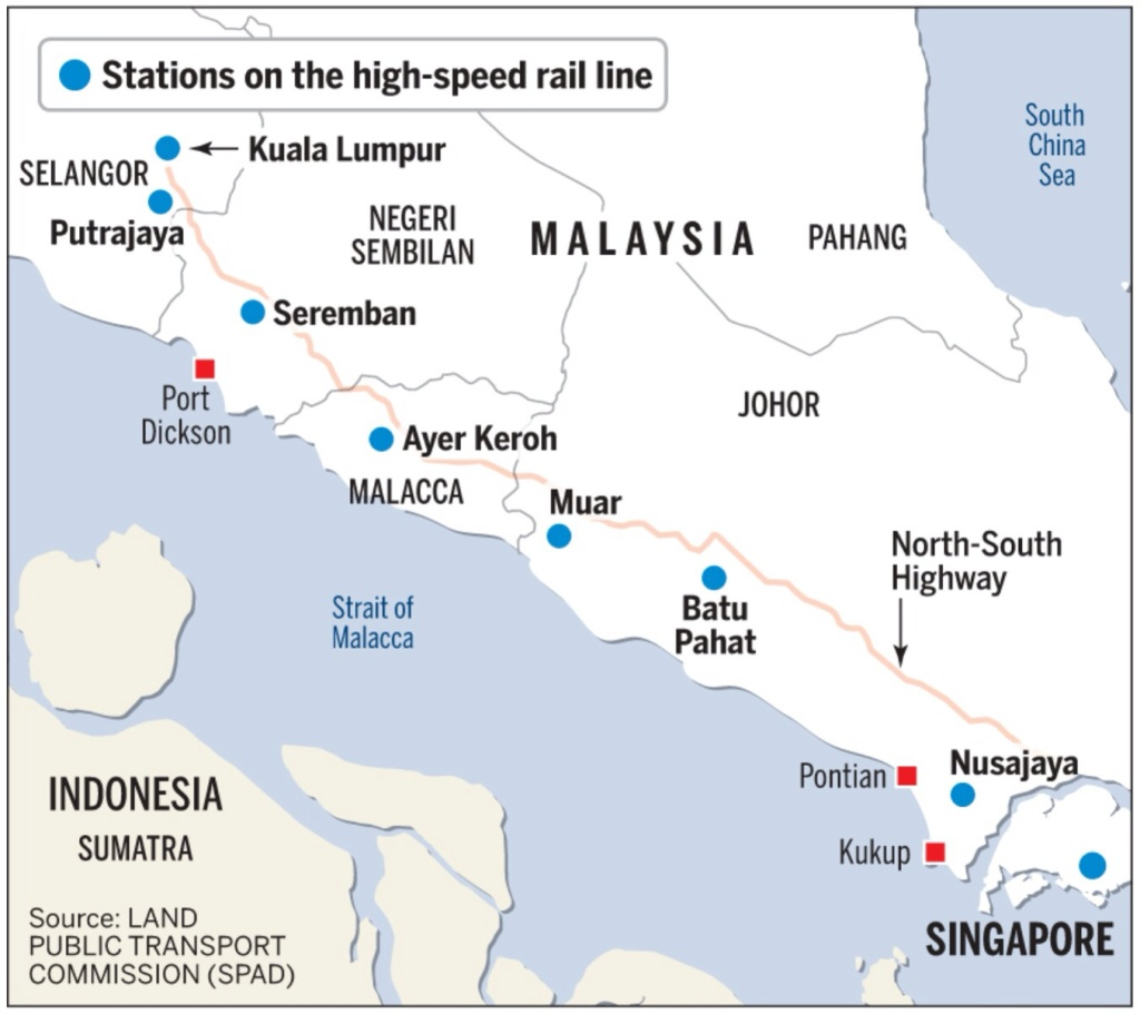High speed rail malaysia singapore latest alignment map