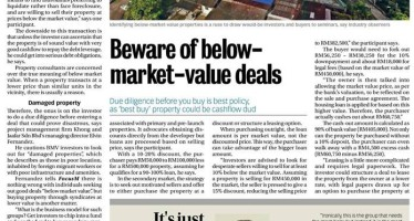 Beware of below market value property deals